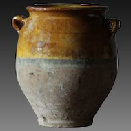 SMALL 19th Century French Yellow Slip Glazed Earthenware Confit Pot