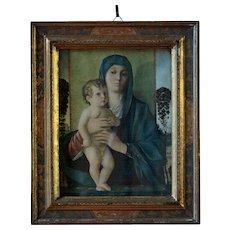 Antique Joannes Bellinus Religious Print - Framed Giovanni Bellini Madonna - Red Tag Sale Item