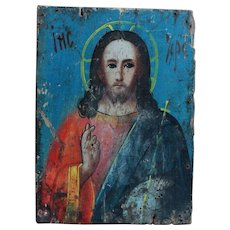 Antique Russian Orthodox Icon - Christ Pantocrator