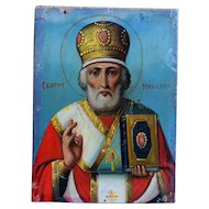 Antique Russian Orthodox Icon - St Nicholas