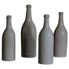 Antique French Glazed Stoneware Wine Cider Bottles