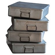 Vintage English Stackable Grundy Teddington Aluminium Boxes - Metal Baking Tins / Trays
