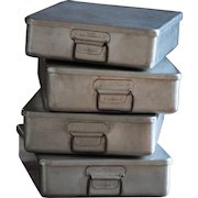 Vintage English Stackable Grundy Teddington Aluminium Boxes - Metal Baking Tins / Trays