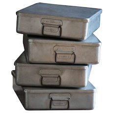 Vintage English Stackable Metal Boxes - Industrial Salvaged Tins / Trays