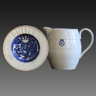 Antique English Ceramic Butter Dish & White Banded Ironstone Milk Jug