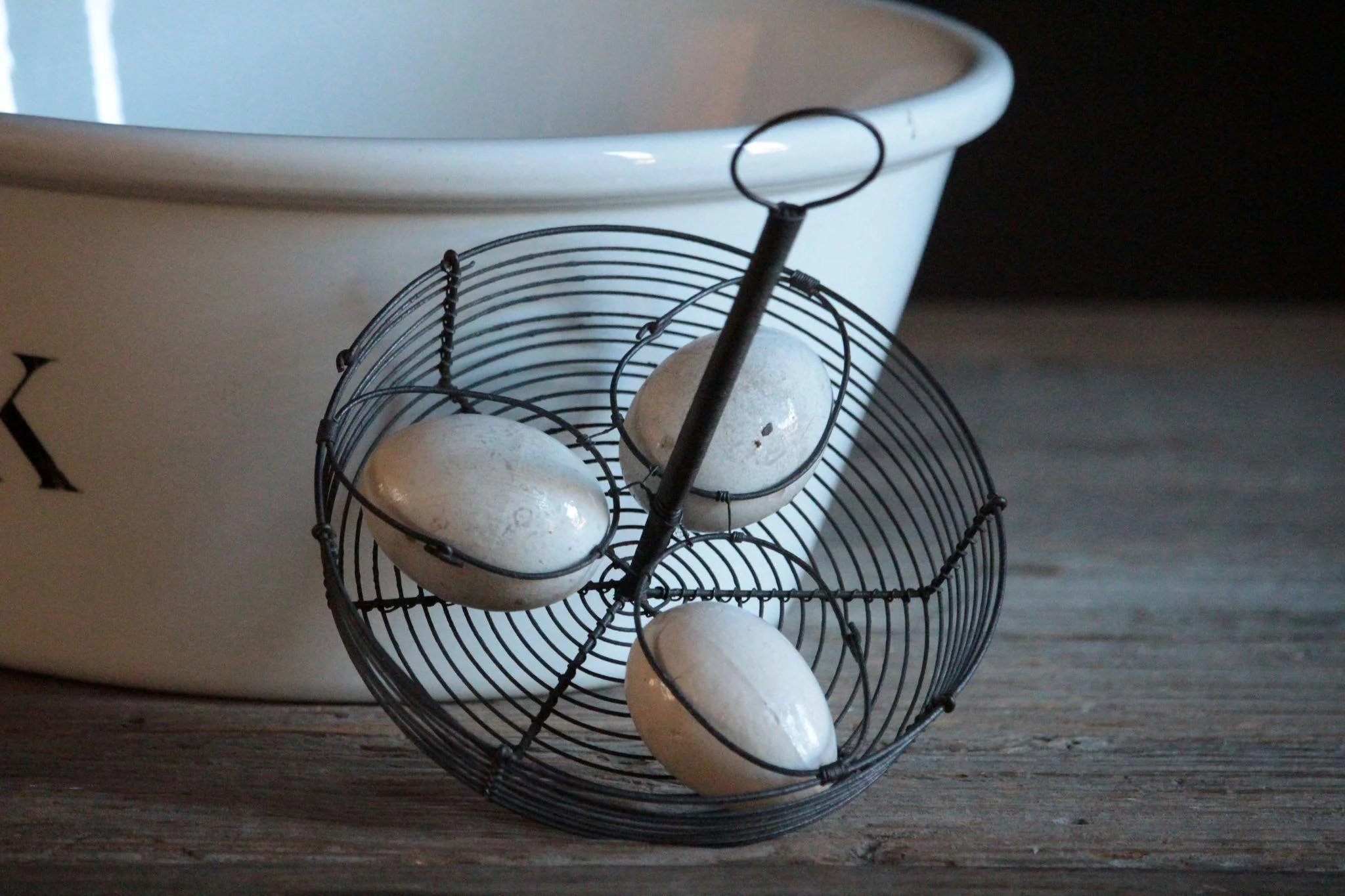 19th Century French Wire Egg Holder Basket & Antique English Pottery ...