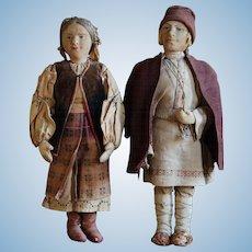 1920s Russian USSR Stockinette Cloth Dolls - Village Boy / Ukrainian Woman Folk Costume Doll