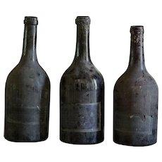 19th Century French Blown Glass Wine Bottles - Antique Burgundy Blown Glass
