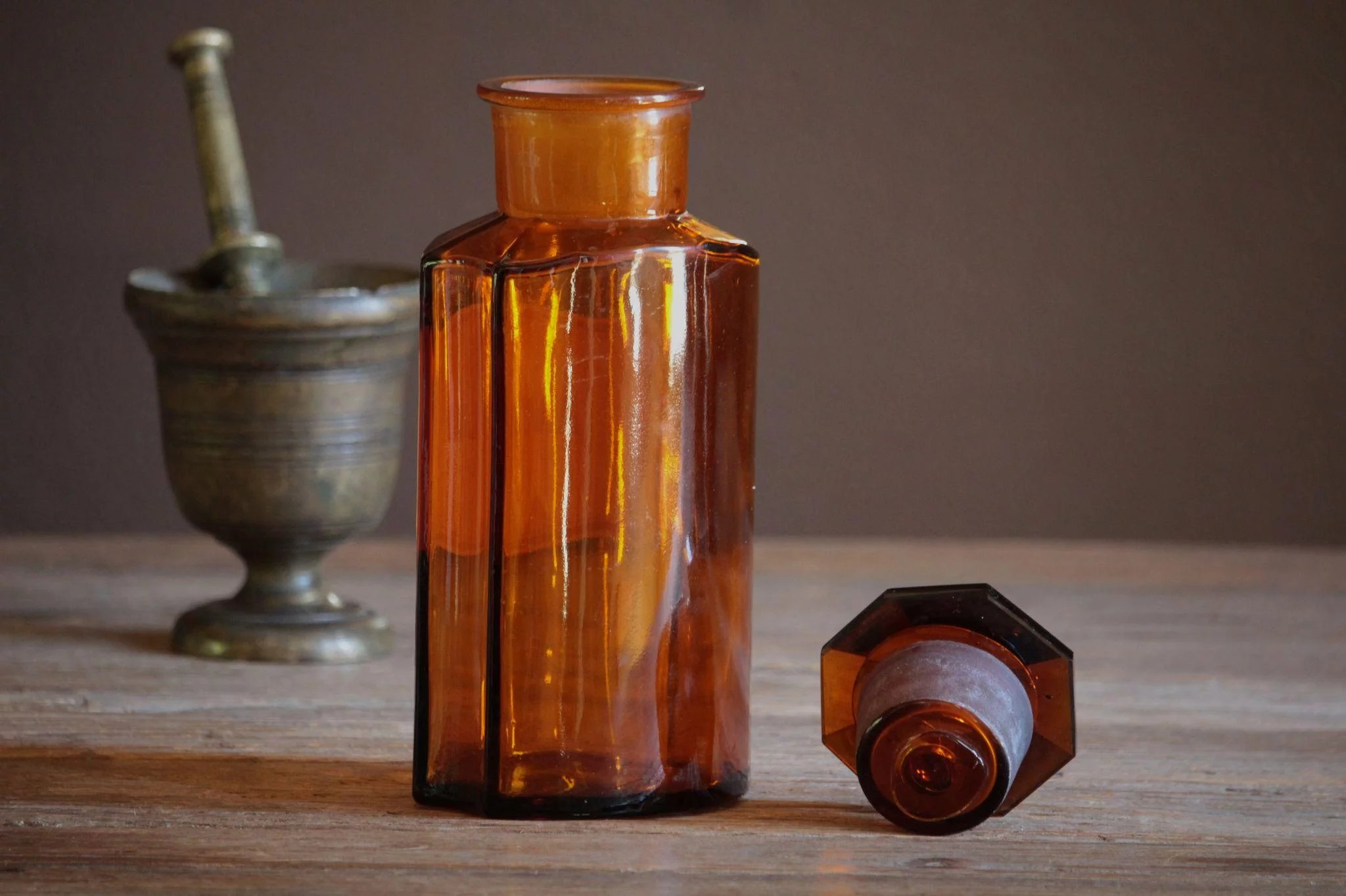 Apothecary Amber Faceted Glass Bottles