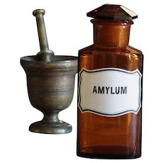 Antique Amber Glass AMYLUM Apothecary Jar