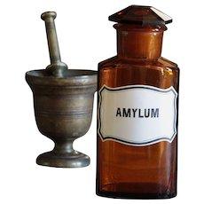 Antique Amber Glass AMYLUM Apothecary Jar