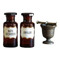 Antique Amber Glass AMYLUM & NATR. BICARBON. Apothecary Jar
