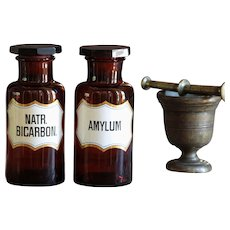 Antique Amber Glass AMYLUM & NATR. BICARBON. Apothecary Jar