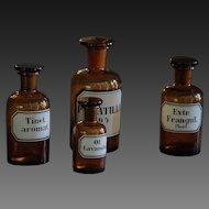 Antique Amber Glass Homeopathic Apothecary Chemist Bottles
