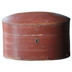 Antique Norwegian Bentwood Oval Storage BOX - 19th Century Scandinavian Painted Folk Art Pantry / Trinket Box