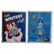 Vintage 1950s English Daz & Persil Laundry Detergent Washing Powder Adverts