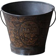 Antique English Child's Tin-Lithographed Seaside Sand Pail - Bucket