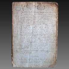 1735 Antique French Handwritten Notary Manuscript Register