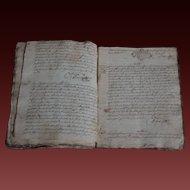 1720 Antique French Handwritten Notary - 18th  Century Manuscript / Register