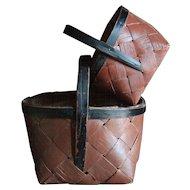 Antique Swedish Folk Art Baskets - 19th Century Scandinavian Painted Baskets
