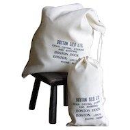 Vintage Boston Silo Cloth Flour Bags x 12 - 1950s Grain Silo Sacks