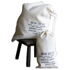 Vintage Boston Silo Cloth Flour Bags x 12 - 1950s Grain Silo Sacks