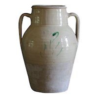 Antique Italian Earthenware Glazed Amphora Preserve Jar - Confit Pot