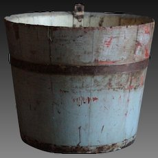 Antique Primitive Maple Sap Bucket - Painted Wooden Folk Art Bucket