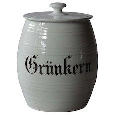 Antique German Grünkern Kitchen Storage Jar / Canister