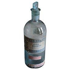 Antique English c. 1903 Ether Anesthetic Bottle - RARE Apothecary / Chemist Glass Poison Bottle