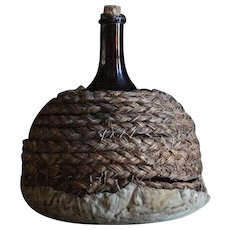 19th Century French Amber Glass Wine / Cognac Demijohn Bottle / Flask