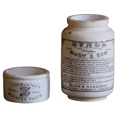 Antique English Bloater Paste & Bynol Cod Liver Oil Advertising Pots / Jars