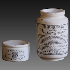 Antique English Bloater Paste & Bynol Cod Liver Oil Advertising Pots / Jars