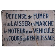 Vintage French Painted Metal Trade Sign - Gas Service Station