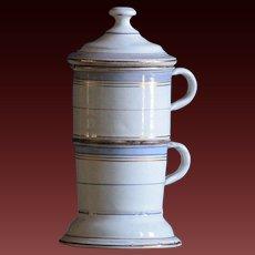 Antique French Enamelware Tisane -  Enamel Tea or Coffee Pot