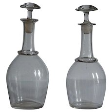 19th Century Normandy Glass Cider Carafes - Antique French Bistro Decanter