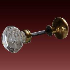 Antique English Cut Crystal Glass & Brass Door Knob