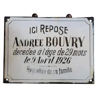 Vintage 1926 French Enamel Memorial / Funeral Plaque - Grave Marker