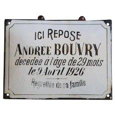 Vintage 1926 French Enamel Memorial / Funeral Plaque - Grave Marker