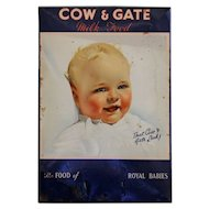 Vintage English Cow & Gate Baby Milk Food Advertising Sign