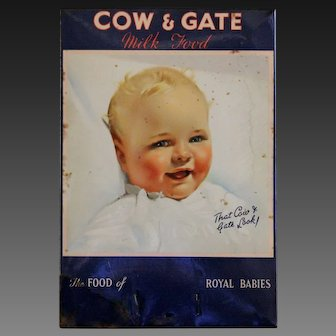 Vintage English Cow & Gate Baby Milk Food Advertising Sign