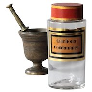 19th Century French Antique Apothecary Glass Jar & Toleware Lid