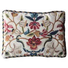 Antique English Crewel Embroidered Cushion - Red Tag Sale Item
