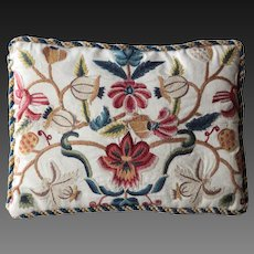 Antique English Crewel Embroidered Cushion