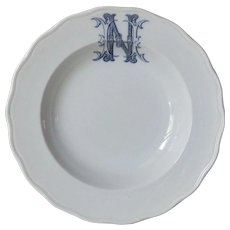 Antique 19th Century English Monogram Porcelain Plate