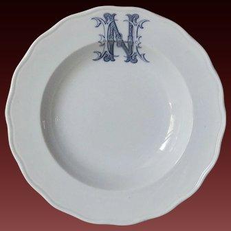 Antique 19th Century English Monogram Porcelain Plate