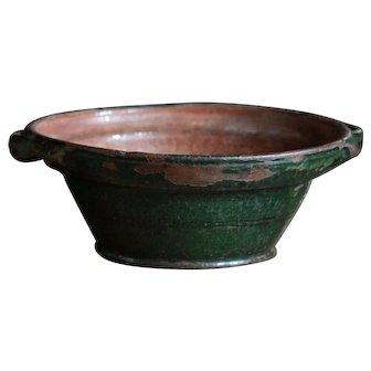 Antique 18th C Pottery Porringer Bowl - Redware - Glazed Earthenware