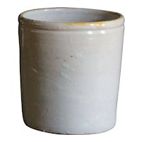 Antique Italian Naples Confit Pot - White Glazed Preserve Jar