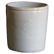 Antique Italian Confit Pot - White-Glazed Earthenware Jar