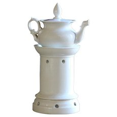 Antique French Tisane - Bone China Teapot & Warming Stand